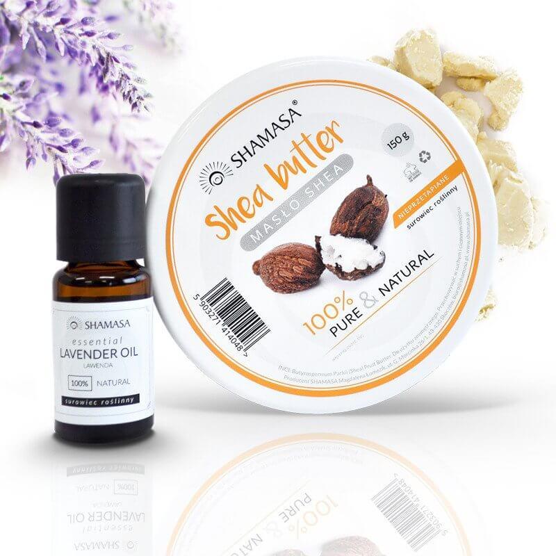 Balsam do ciała DIY masło shea 150 g + olejek eteryczny lawenda 15 ml